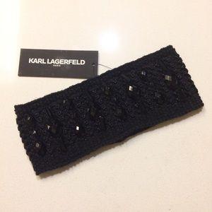 Black Gemstone Embellished Knit Headband Headwrap